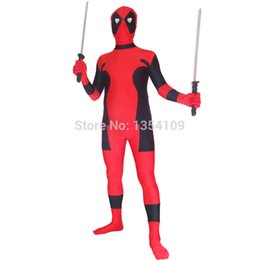 Wholesale hot deadpool costume online – ideas cospaly Newest Hot Deadpool Spandex Deadpool Halloween Party Cosplay ZenTai suit