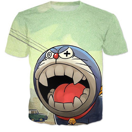T-shirts Doraemon Pas Cher-Nouveaux femmes / hommes rues été décontracté t-shirt dessin animé Doraemon de Harajuku T-shirt Jingle chat 3d t shirt portent hip hop tête tees