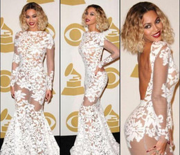 inspired by beyonce celebrity evening dresses boat neck sheer long sleeve lace appliques backless prom party dress gowns cheap vestidos