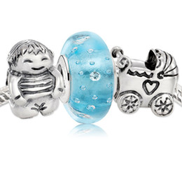 Sterling Silver Boys Bracelet Canada - Authentic 925 Sterling Silver Charms and Murano Glass Bead Set Fits European Pandora Jewelry Charm Bracelets- Bouncing Baby Boy Set