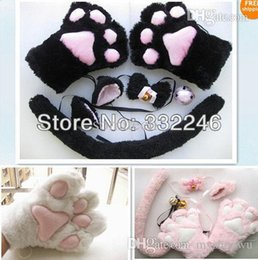 Ensemble De Queue D'oreille De Chat Pas Cher-Gros- New Cat Cosplay Neko Anime Costume Set Lolita en peluche Glove Paw Ear Tail 3colors Livraison gratuite