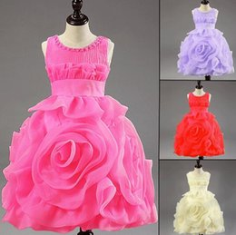 Discount lace layered flower girl dresses - Retail Hot! 3D Rose Flower girl dresses layered princess tutu Dresses.baby Christening dress Latest achieve noble girl d