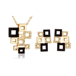 Chinese  Necklace and Earrings Jewelry Sets High-Grade Full Rhinestone Cube Jewelry set Abstract square mosaic Jewelry Sets For Women 1270 manufacturers
