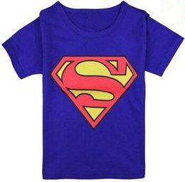 T-shirts Spiderman Pas Cher-80pcs / manches courtes T-shirts beaucoup Bleu Superman Boy 100% coton Spiderman vêtements pour enfants 2016 Summer Enfants Tees Shirts 2-7year