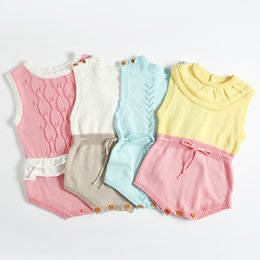 Discount toddler clothing sizes - 2018 Spring Summer Boutique Baby girl clothing Crochet Knit wool Romper String waist Sleeveless for toddler Cape collar