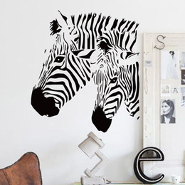 Discount wall stickers horses - bedroom wallpapers cheap home decor vinyl beautiful zebra wall sticker waterproof PVC house decor animal horse decals fo