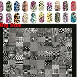 Plaques À Ongles Express Salon Pas Cher-Vente en gros 1pcs-New Big Lace Side Flower Stamping 30.5x25cm Nail Art DIY Conseils Salon express timbre Assiettes Modèles Pochoirs XXL-02
