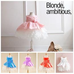 $enCountryForm.capitalKeyWord Canada - pink girls lace princess wedding full dress children girl tutu skirt baby splice party dresses for girls with big bowknot J110703#