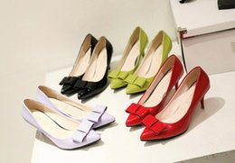 chunky high heels dress shoes 2019 - 2016 In the spring new style Coat of paint The tip head shoe bowknot spike Women's shoes OL style High heels 35-38