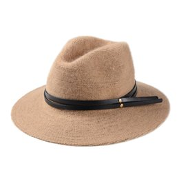Black Knit Hat Brim Canada - Wholesale-2016 Limited Sale Hats Chapeau Homme F253 Autumn Han Guodong Door Explosion Ladies Casual Double Belt Jazz Hat Along Knitting