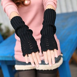 Long sLeeve gLove online shopping - Fashion Unisex Men Women Knitted Fingerless Winter Gloves Soft Warm Mitten Autumn Half Finger Opera Sleeve Longer Section Glove