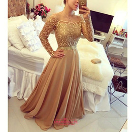 Discount golden chiffon gowns - New Evening Gowns Golden Off Shoulder Long Sleeve Chiffon A Line PArty Prom Dresses Custom Made Free Shipping BO7984