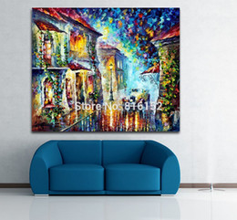 Street Art Canada - Palette Knife Oil Painting Car at Town Street Greek Night Picture Printed on Canvas for Living Room Bedroom Wall Art Decor