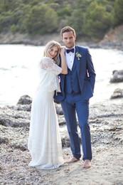 $enCountryForm.capitalKeyWord Canada - Sparkle Groom style wool Blue Groom wear tuxedo Wedding Suits For Men Best man's Wedding Suits 3 Peices Set(Jacket+Pants+Bowtie)plus size