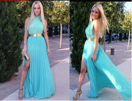 $enCountryForm.capitalKeyWord Canada - 2019 Chiffon Sexy Halter Prom Dresses Backless Evening Dresses Light Sky Blue Side Slit Pleated Long Party Evening Gowns With Gold Belt