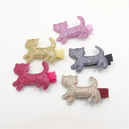 Barato Pequeno Vermelho Bonito-20pcs / Lot Colorful Little Kitty Meninas Pin de cabelo Sweet Cute Red Pink Gold Gatos Clip de cabelo New Glitter Kids Fine Fabric Hair Grip