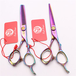 "Barber Thinning Shears Australia - Z9001 6"" 17.5cm 440C Purple Dragon Laser Multicolor Professional Human Hair Scissors Barbers' Hairdressing Scissors Cutting Thinning Shears"