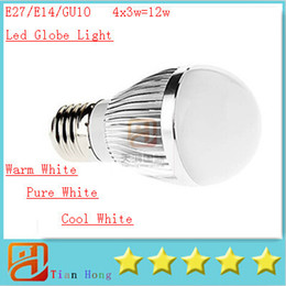 Dimmable E14 Energy Saving Bulb Canada - 2015 NEW E27 E14 GU10 4X3W 12W Led Light Bubble Ball Bulb 85-265V Dimmable Warm White Pure White Cool White Led Lamp Spotlight Energy Saving