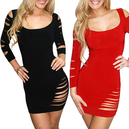 Adult Night Clothes NZ - Women's Clothing Dresses Night Out & Club Summer Autumn Sexy Crew Neck long sleeve Party Dress Mini Dresses wholesale Free shipping
