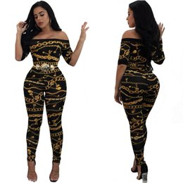 Barato Calças De Vestidos Impressos Com Mulheres-Sexy Women Jumpsuits Chain Printing Off Ombro Rompers Middle Sleeve Long Pants Casual Fashion Dress SF09-17