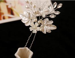 $enCountryForm.capitalKeyWord Canada - Elegant Wedding Bridal Hair Accessories Rhinestone Pearl Leaf Flower U Pins Women Party Head Pieces Bridal Head Pieces
