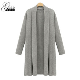 ladies cotton knit cardigans 2019 - Women Autumn Knitted Long Cardigan Women Long Sleeve Wool Cardigans Sweaters Winter Ladies Cardigan Poncho Female Outerw
