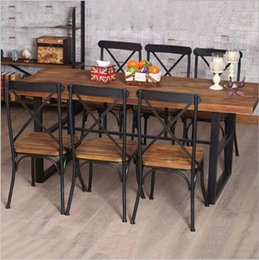 Cheap American country retro wood furniture, wrought iron table in the restaurant the family dinner table dinette combination Fe on Sale