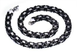 Discount china jewelry fade - Top Quality Never Fade Black Silver Stainless Steel Flat Chain Byzantine Necklace Fashion Gift Wide Cool Gift 11mm 22&#0