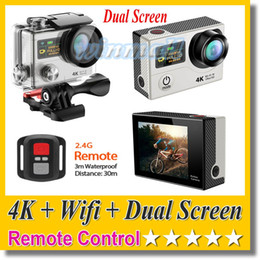 lcd dv Canada - EKEN H3R 4K Action Camera Dual Screen + Remote Control + Wifi 1080P 60FPS 12MP 30M waterproof Sport DV Cam