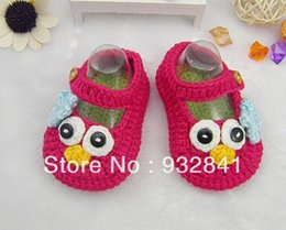 wholesale red shoes Australia - 2015 Factory directly Pretty on sale red cartoon baby crochet shoes ,Infant footwear,size 9cm10cm11cm shoesToddler shoes 0-12M cotton