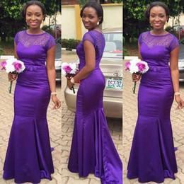 $enCountryForm.capitalKeyWord Canada - Arabic Style 2016 Latest Purple Satin Short Sleeve Mermaid Bridesmaid Dresses Modest Beaded Long Floor Formal Gown Custom Made EN1069