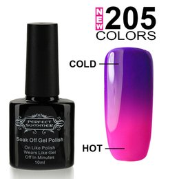 Humor Cambiante Uv Esmalte De Uñas Baratos-Al por mayor-Perfect Temperatura Verano cambio de uñas de color de uñas 10ML Lasting polaco laca largo empapa uv / led Magia Mood Gel Esmalte de Uñas