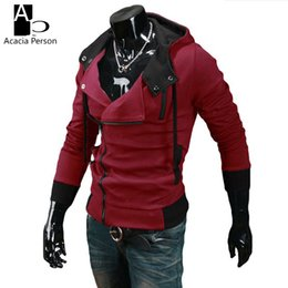 Sweat À Capuche Oblique Pas Cher-Vente en gros- Printemps Hoodies Hommes Slim <b>Oblique Zipper Hoodies</b> Hommes Survêtement Hip Hop Veste Moleton Assassins Creed Hoodies et Sweatshirts 6XL