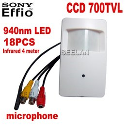 Ccd Camera Motion Canada - 18pcs 940nm Night Vision Motion Detector PIR STYLE CCTV Camera 960H 700TVL Effio-e CCTV Mini Security Camera External microphone