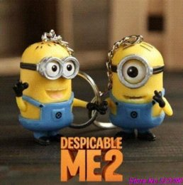 Figure Classics Australia - Cartoon Despicable Me 3D Eye Small Minions Anime Doll PVC Action Figure classic Kid toys Key Chains Free Shipping (2 pcs set)