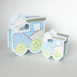 Barato Caixas Favor Azul Do Presente-36pcs Blue Locomotive Candy Boxes Railway Egine Cute Baby shower Gift Box Wedding Favors 2015 Novo