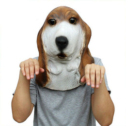 Barato Vestido De Fantasia De Cachorro Para Adultos-Full Face Animal Latex Mask Adultos Basset Hound Dog Head Party Máscaras Cosplay Masquerade Fancy Dress Party para Halloween Mask
