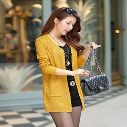 Barato Camisolas Do Casaco Amarelo Para Mulheres-Atacado- Moda Mulheres Sweater Long Cardigan manga comprida Thin Knitted Cardigan Lady Sweaters Amarelo Preto Azul 6 cores Plus Size S-3XL