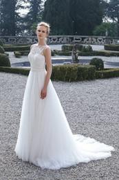 Tulle Jewel Neckline Wedding Dress Canada - Pretty 2016 Bridal Gown Sleeveless A-Line Vintage Wedding Dresses Lace Jewel Illusion Neckline Tulle Skirt Cheap Wedding Dress Made China