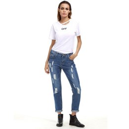 Señoras Pantalones Vaqueros Lavado Baratos-LALA IKAI Gran tamaño Boyfriend Denim Pants Women Ripped Washed Jeans Hole Destroyed Trousers Girl Pencil Pant Ladies KWA0448-45