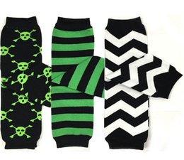 Barato Padrão Leggings Bebê-Halloween Green Black Pirata Skull Baby Leg Warmer / Leggings 280 padrões Boys Girls Leggings Tights Snowflakes Meias Baby Sockstights 20 Pc