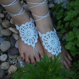 $enCountryForm.capitalKeyWord NZ - crochet White flower barefoot sandal baby blue Crochet shoes sandal,Wedding barefoot sandal,Beach bride shoes,Bridesmaid barefoot