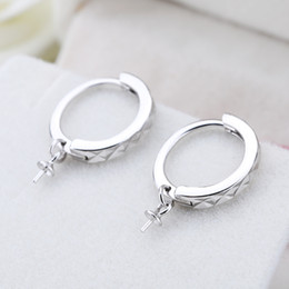 Mounted Stone Set Canada - Fine Silver Sterling Silver 925 White Gold Color 6-12mm Pearl or Round Bead Hoop Earrings Semi Mount DIY Stone Setting