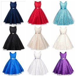 rhinestone belts wedding dresses Canada - Big girl wedding dress sleeveless girl's lace princess dress children skirt with rhinestone belt kids boutique clothes