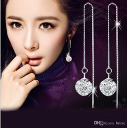 China Korean version of the female temperament earrings beautiful ear wire earrings long paragraph Snow White Female cheap rhodium plated ear wires suppliers