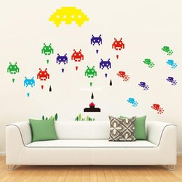 Funlife Self Adhensive Peel And Stick Removable Wall Sticker Mural Decal  Game Space Invaders Retro Video Game DIY Decal MS391001