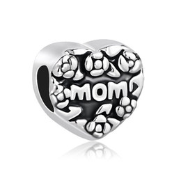 China Metal Slider Spacer Big Hole Flower heart Love Mom Mother European Bead Fit Pandora Chamilia Biagi Charm Bracelet suppliers