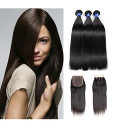 $enCountryForm.capitalKeyWord NZ - 8A Brazilian Virgin Hair with closure Extensions 3 Bundles Brazilian Silk Straight With 4x4 Lace Closure Unprocessed Remy Human Hair Weave