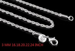 $enCountryForm.capitalKeyWord Canada - 3MM 925 Sterling Silver Stamp - Rope Chain Necklace 16 18 20 22 24 INCH fashion jewelry 80pcs
