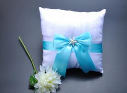 $enCountryForm.capitalKeyWord Canada - Square Pearl Starfish Bucket Satin With Blue Bow Bridal Ring Bearer Pillow Beaded Wedding Ceremony Favors Box